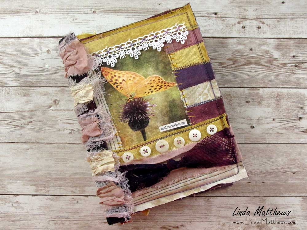 The Transitions Journal - a stitched mixed media fabric journal